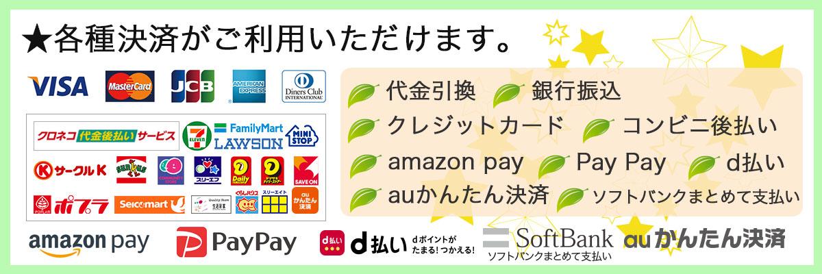 各種お支払い方法がご使用できます。