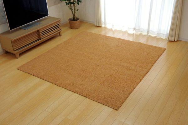ラグガーペット 1.5畳 洗える タフト風 ノベル オレンジ 約130×185cm 【イケヒココーポレーション】1