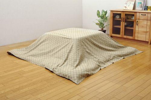 こたつ布団カバー 長方形 格子柄 インド綿 クレタ上掛 ベージュ 約210×250cm 【イケヒココーポレーション】1