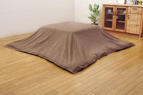 こたつ布団カバー 長方形 格子柄 インド綿 クレタ上掛 ブラウン 約210×250cm 【イケヒココーポレーション】1