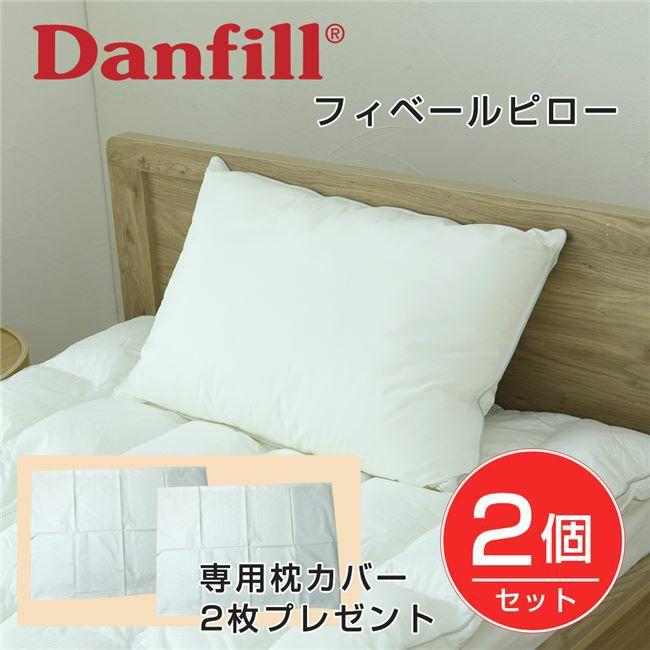 Danfill フィベールピロー 45×65cm 2個セット+専用枕カバーAKF01 2枚付