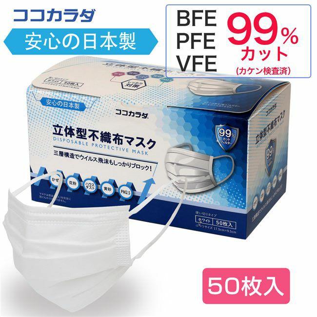 ココカラダ 日本製 立体型不織布マスク 50枚入