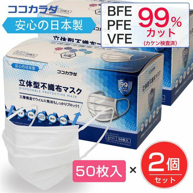 ココカラダ 日本製 立体型不織布マスク 50枚入×2個セット