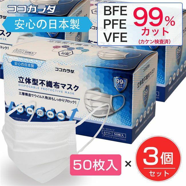ココカラダ 日本製 立体型不織布マスク 50枚入×3個セット